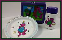 Barney The Dinosaur - 1992 Lunch Box, Thermos and Strike Up The Band Plate EUC