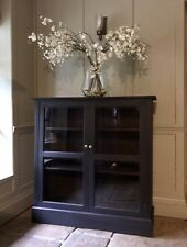Antique Black Painted Display China Bookcase Glazed Cabinet Cupboard