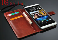 Brown Luxury Wallet Flip PU Leather Case Stand Cover For HTC Desire 816 USA
