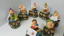 Disney Snow White Seven Dwarves Solar Garden Figurines Mine Train Complete Set 7