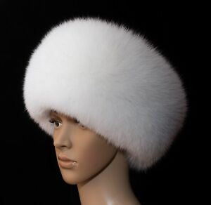 Pure White Arctic Shadow Fox Fur White Leather Handmade Ladies Roller Winter Hat