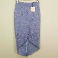 PORTMANS Womens Size 10 Blue Heron Lace Midi Skirt NEW + TAGS RRP $99.95