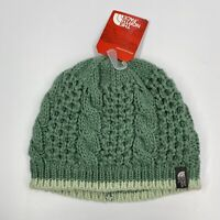 NWT The North Face Unisex Ski Wear Cap Winter Sea Green Hat Cable Knit Minna