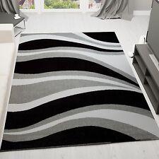 VIMODA Velours Teppich Modern Kurzflor Preiswert Schwarz grau weiß Blitzversand