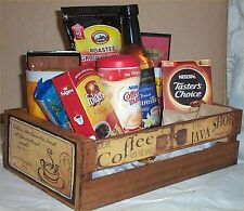 Coffee Gift Basket 2 Mugs Candy Creme Syrup Hot Chocolate Wood Coffees Crate
