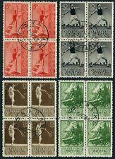 Russia 698-701 blocks/4,CTO.Mi 657-660. 1938.Diving,Discus,Tennis,Motorcyclist.
