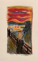 Original Watercolor Painting The Scream Art Edvard Munch Copy Signed Decor -MM