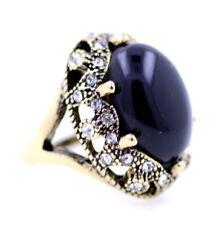 Vintage Gothic Stil Bronze Ausschnitt Ring mit schwarzem Stein und klarem Krista
