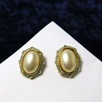 Vintage Vendome by Coro Clip on Earrings Faux Pearl Cab Gold Plate Rhinestones