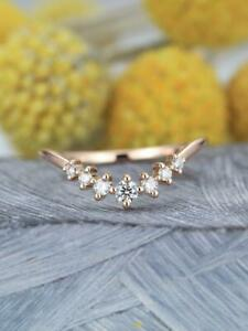0.50 Ct Round Diamond 14K Rose Gold Finish Women's Curved Engagement Band Ring