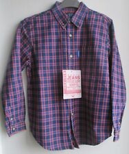 New  Shirt by designer Marinus in purple and blue check  100% cotton  12 year