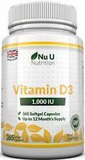 Vitamine D3 1000 UI, 365 Softgels une année entière de réserve haute Absorption