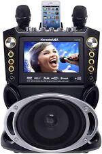 Karaoke USA Portable DVD, CDG, MP3G Karaoke Machine w/ 2 Microphones & Bluetooth