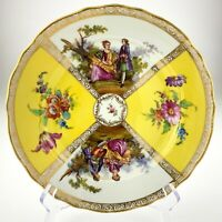 Dresden Hand Painted Charger Crown Mark Germany Courting Scene Yellow R905