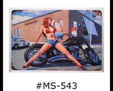 Tin Sign Harley Motorcycles Sexy Pin Up Girl Man Cave Retro Metal Signs Plaques