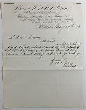 Antique Whiskey Letterhead M & J S Perrine Brandy Gin Wine Etc Philadelphia 1876