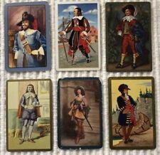 6 Vintage Playing Cards ~ European Period Men ~1 Blank Swap ~ Extra Joker
