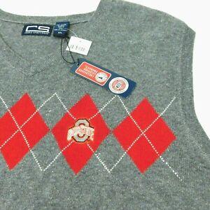 NWT Ohio State Sweater Vest Red Argyle Gray CRABLE SPORTSWEAR Men's XXL 2XL