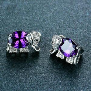 4Ct Oval Cut Amethyst Gorgeous Elephant Stud Earrings 14K White Gold Finish