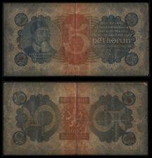 ZE.188} CZECHOSLOVAKIA 5 korun 1921 VF-