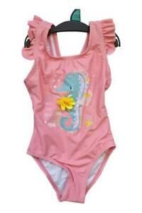 Girls Sea Horse Pink Swimming Costume