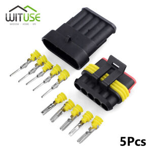 5Sets 1/2/3/4/5/6 Pin Waterproof IP68 Sealed Electrical Wire Car Connector Plug