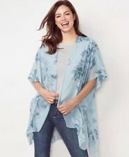 LC Lauren Conrad One Size Blue With Silver Floral Open Front Kimono Cardigan