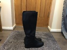 Ladies Black Faux Leather, Just Under The Knee High Boots Size 6