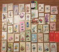 Lot of 50 Vintage Greeting Cards Used Get Well 1960's die cut embossed ephemera
