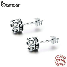 Bamoer Authentic S925 Sterling Silver Stud Earrings Sparkly crown With Zircon