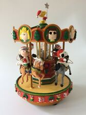 Peanuts Gang Snoopy Mr Christmas Holiday Carousel Merry Go Round Music Box RARE!