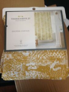 "Threshold Shower Curtain 72""×72"" - 100% Cotton - Gold & Cream"