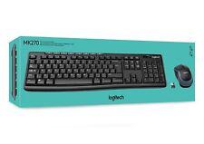 Logitech MK270 Wireless UK QWERTY KeyBoard and Mouse Desktop Combo Set Black