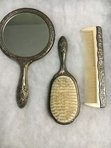 Victorian Style Mirror, Comb, Brush Vanity Set Used