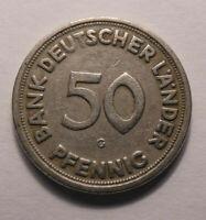 50 Pfennig Münze 1949 Kennzeichnung - G - Selten Gebraucht !TOP! 50PF K-1381