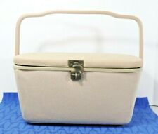 Fabric covered sewing box / basket pincushion lid, inside tray, Plastic Handle