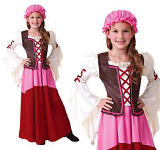 Childrens Tavern Girl Fancy Dress Costume Chamber Maid Girls Childs Outfit M