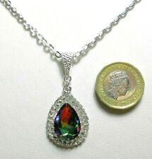 30mm pendant, mystic/rainbow glass centre  - 18'' chain