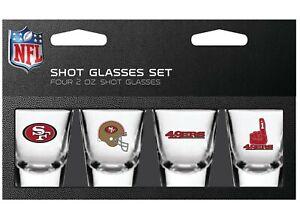 San Francisco 49ers NFL 2 oz Shot Glasses Set 4 Pack