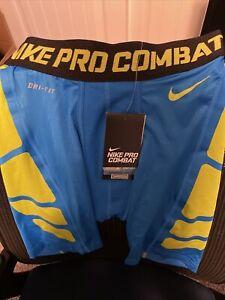 NWT Nike Pro Combat Compression Shorts - Blue/Lime Size Large