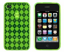 Flexible TPU Gel Case for iPhone 4 / 4S - Argyle Green