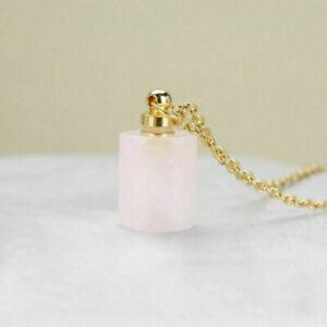 1Pc Natural Quartz Crystal Perfume Bottles Essential Oil Bottle Pendant Necklace