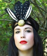 ROMAN DISC GOTH HALLOWEEN GATSBY PARTY FEATHER FLAPPER HEAD DRESS HEAD BAND