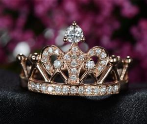 1Ct Round Cut VVS1/D Diamond Crawn Engagement Wedding Ring 14K Rose Gold Finish