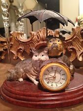 Antique reproduction Mantle Clock Dog & Cat-very unusual