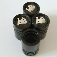 SKODA Matte Black valve Tyre Dust Caps Plastic Inside all models Non Stick Fabia