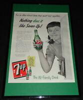1955 Seven 7-Up Framed 11x17 ORIGINAL Advertising Display