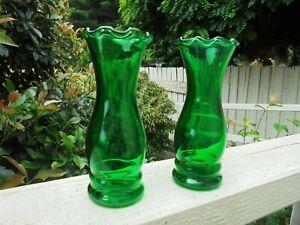 PAIR VINTAGE ANCHOR & HOCKING EMERALD GREEN GLASS VASES