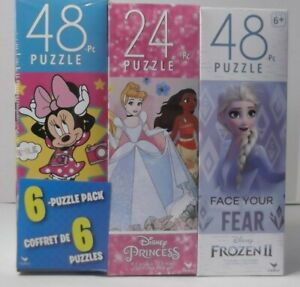 Spinmaster 6-Puzzle Pack, Disney Mickey & Minnie Mouse, Frozen II, Princess, New