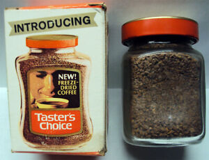 1966 Taster's Choice Coffee FIrst Original Sealed Trial Sample Jar w/Rare Box